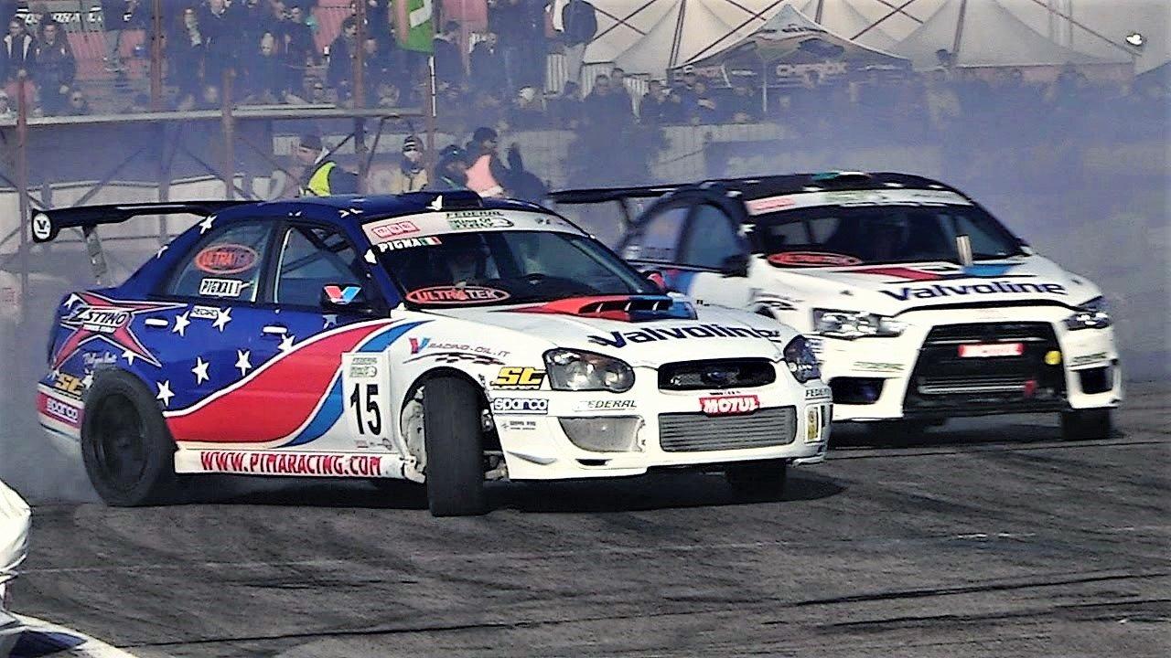 Mitsubishi Lancer EVO X и Subaru Impreza WRX STi во дрифт битка